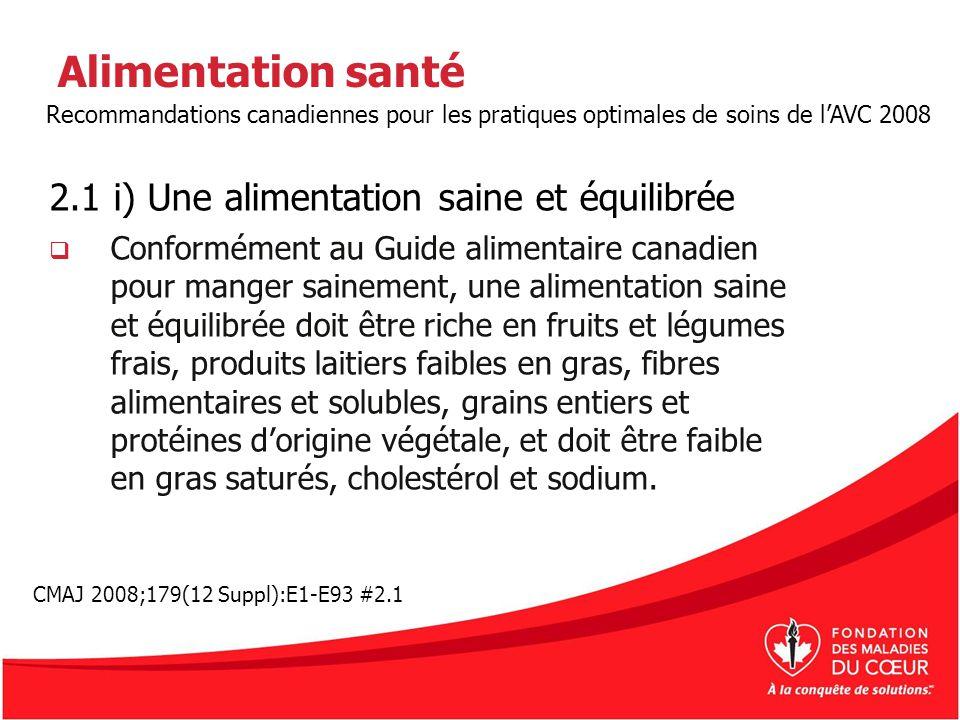 Alimentation santé 2.1 i) Une alimentation saine et équilibrée Conformément au Guide alimentaire canadien pour manger sainement, une alimentation sain