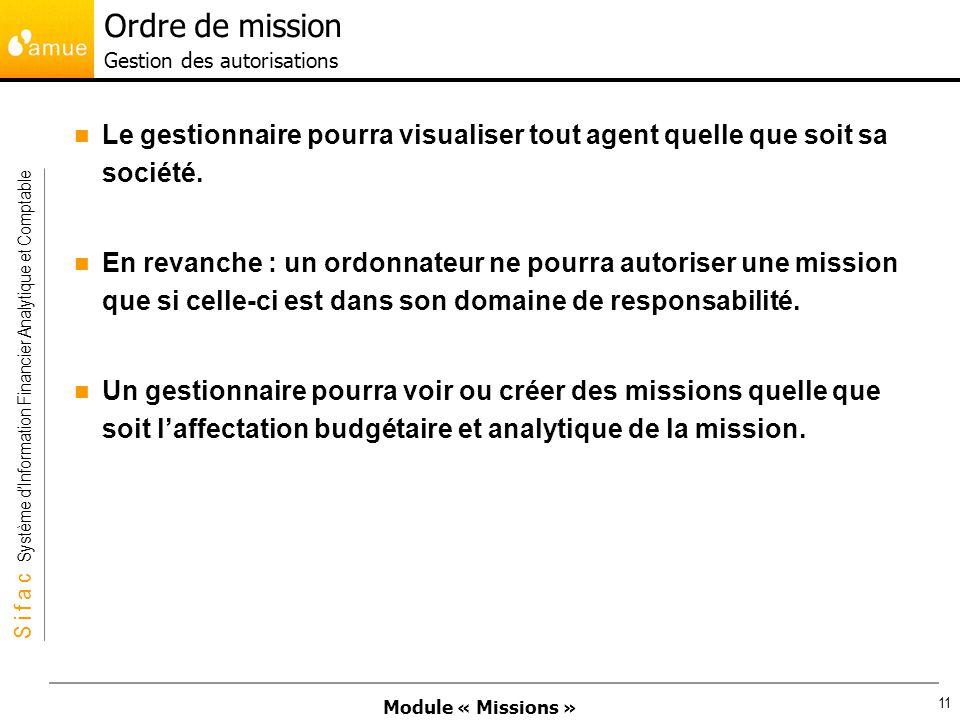 Module « Missions » S i f a c Système dInformation Financier Analytique et Comptable 11 Le gestionnaire pourra visualiser tout agent quelle que soit s