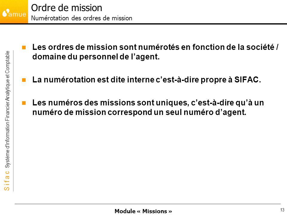 Module « Missions » S i f a c Système dInformation Financier Analytique et Comptable 13 Les ordres de mission sont numérotés en fonction de la société