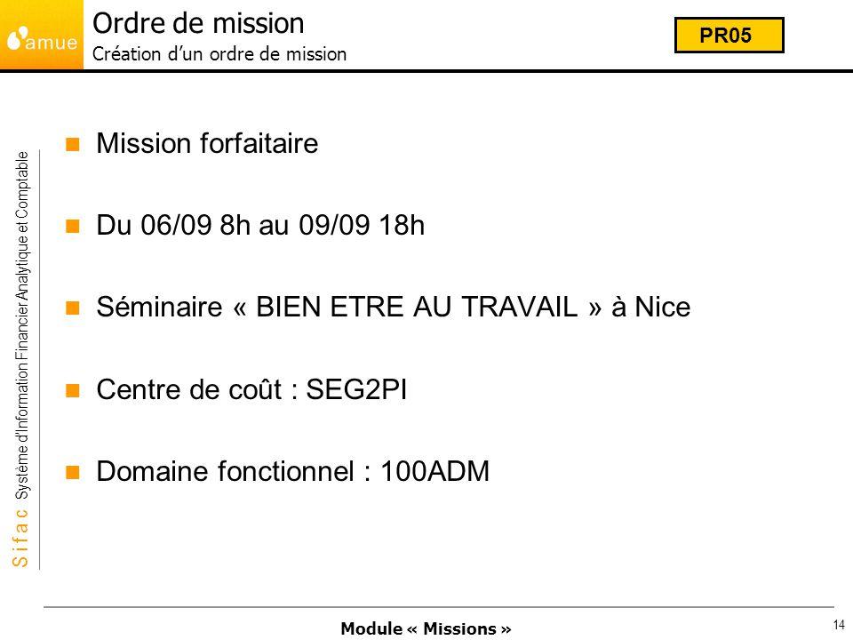 Module « Missions » S i f a c Système dInformation Financier Analytique et Comptable 14 Ordre de mission Création dun ordre de mission Mission forfait