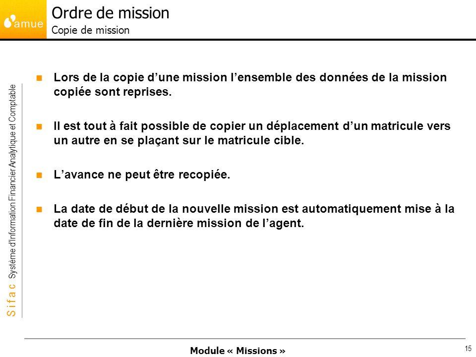 Module « Missions » S i f a c Système dInformation Financier Analytique et Comptable 15 Lors de la copie dune mission lensemble des données de la miss
