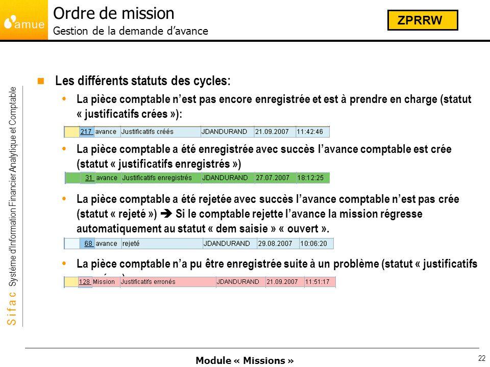 Module « Missions » S i f a c Système dInformation Financier Analytique et Comptable 22 Les différents statuts des cycles: La pièce comptable nest pas