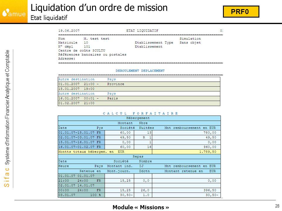 Module « Missions » S i f a c Système dInformation Financier Analytique et Comptable 28 Liquidation dun ordre de mission Etat liquidatif PRF0