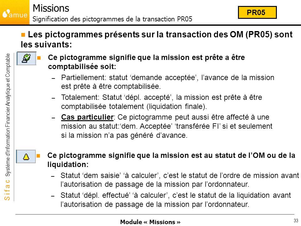 Module « Missions » S i f a c Système dInformation Financier Analytique et Comptable 33 Ce pictogramme signifie que la mission est prête a être compta