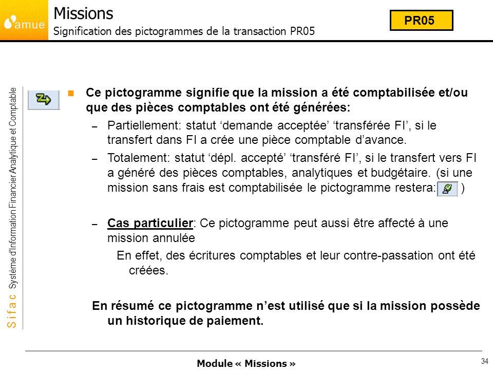 Module « Missions » S i f a c Système dInformation Financier Analytique et Comptable 34 Ce pictogramme signifie que la mission a été comptabilisée et/