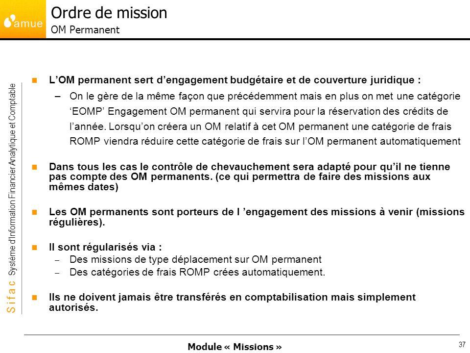 Module « Missions » S i f a c Système dInformation Financier Analytique et Comptable 37 LOM permanent sert dengagement budgétaire et de couverture jur