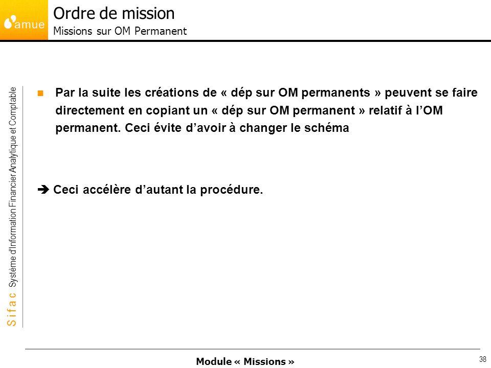 Module « Missions » S i f a c Système dInformation Financier Analytique et Comptable 38 Par la suite les créations de « dép sur OM permanents » peuven