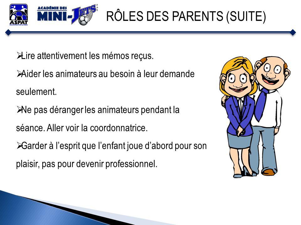 RÔLES DES PARENTS (SUITE) Lire attentivement les mémos reçus. Aider les animateurs au besoin à leur demande seulement. Ne pas déranger les animateurs