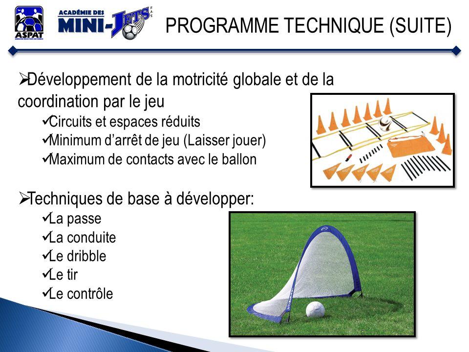 PROGRAMME TECHNIQUE (SUITE) Développement de la motricité globale et de la coordination par le jeu Circuits et espaces réduits Minimum darrêt de jeu (