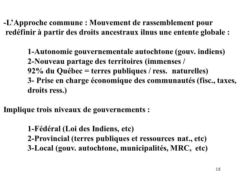 18 -LApproche commune : Mouvement de rassemblement pour redéfinir à partir des droits ancestraux ilnus une entente globale : 1-Autonomie gouvernementa