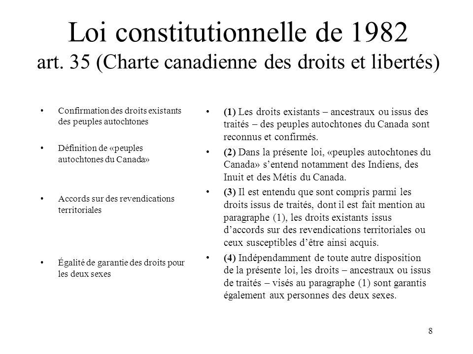 8 Loi constitutionnelle de 1982 art. 35 (Charte canadienne des droits et libertés) Confirmation des droits existants des peuples autochtones Définitio