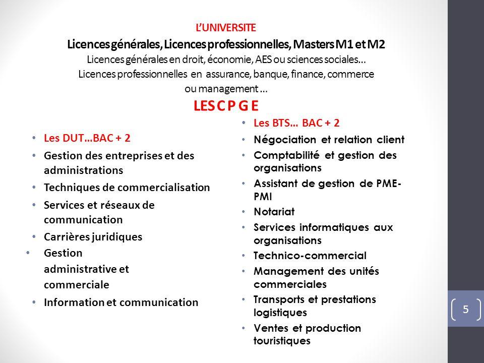 Les DUT…BAC + 2 Gestion des entreprises et des administrations Techniques de commercialisation Services et réseaux de communication Carrières juridiqu