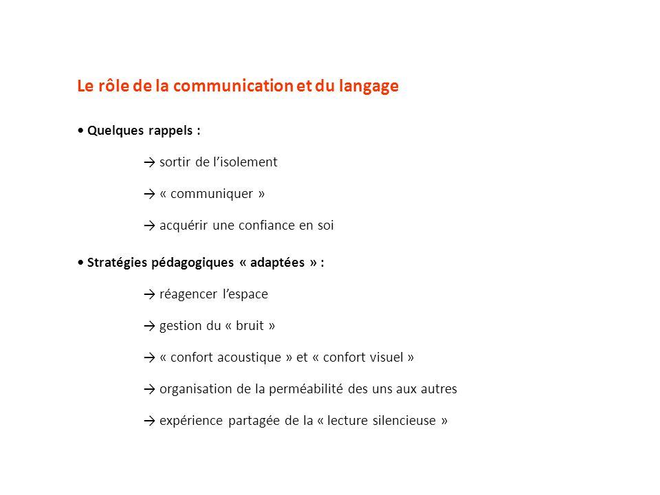 Le rôle de la communication et du langage Quelques rappels : sortir de lisolement « communiquer » acquérir une confiance en soi Stratégies pédagogique