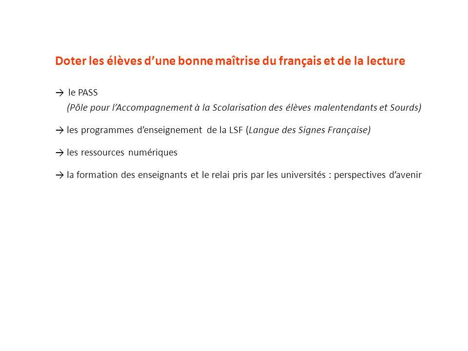Doter les élèves dune bonne maîtrise du français et de la lecture le PASS (Pôle pour lAccompagnement à la Scolarisation des élèves malentendants et So