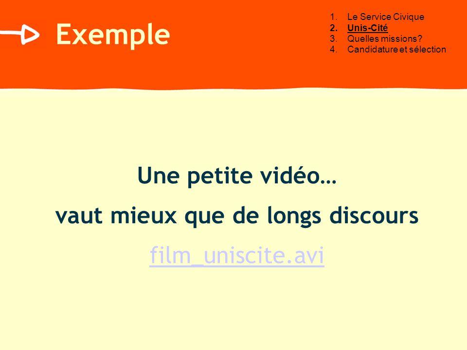 Exemple Une petite vidéo… vaut mieux que de longs discours film_uniscite.avi 1.Le Service Civique 2.Unis-Cité 3.Quelles missions.