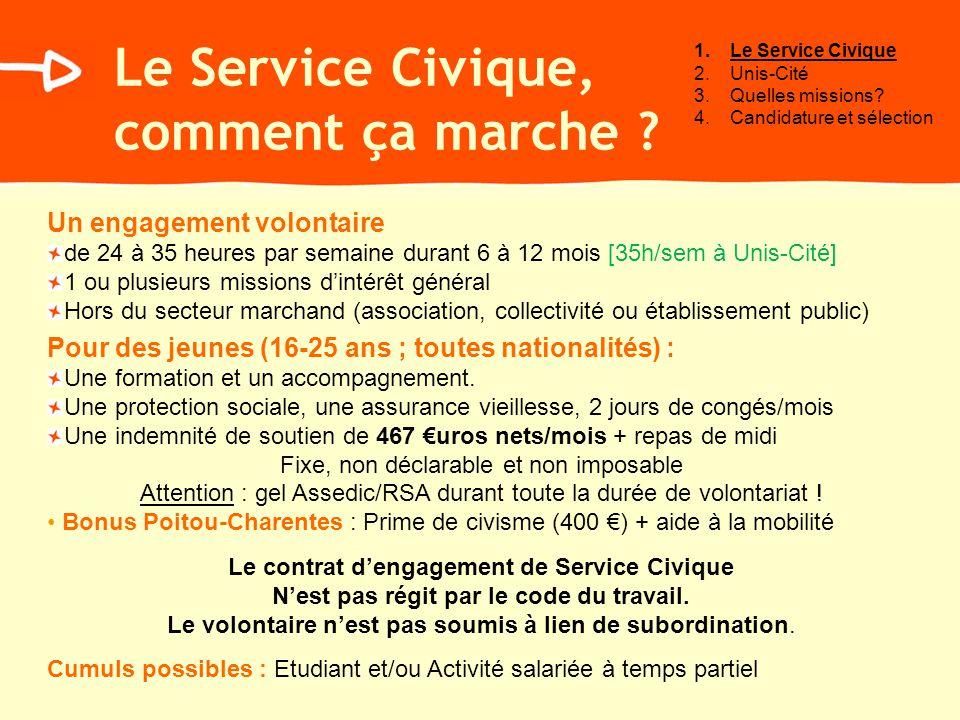 Le Service Civique, spécificités régionales En Poitou-Charentes, le Conseil Régional sengage et soutien les jeunes en Service Civique : Prime de civisme de 400 Aide à la mobilité tarif préférentiel du réseau TER (réduction de 75%) aide au permis de conduire (aide au code de la route plafonnée à 700 ) Sous conditions de ressources Bilan personnel via le « passeport formation » régional Aide à BAFA, BNSSA, BFN1, BNF2 Ces aides régionales s ajoutent aux indemnités de ~570 par mois versées par lEtat et la structure daccueil.