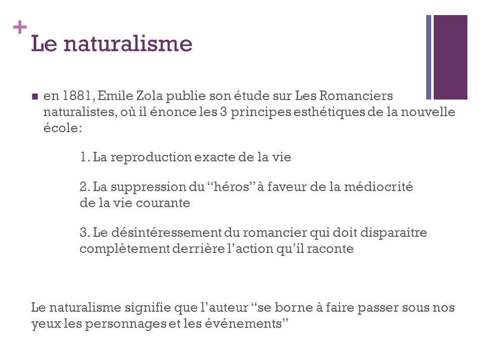 + en 1881, Emile Zola publie son étude sur Les Romanciers naturalistes, où il énonce les 3 principes esthétiques de la nouvelle école: 1. La reproduct