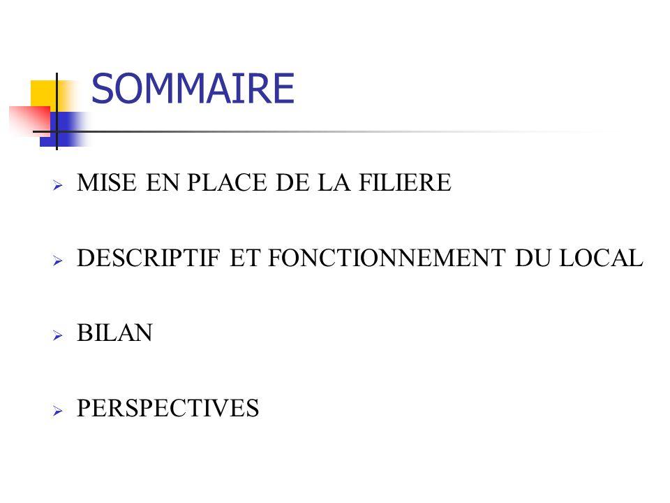 SOMMAIRE MISE EN PLACE DE LA FILIERE DESCRIPTIF ET FONCTIONNEMENT DU LOCAL BILAN PERSPECTIVES