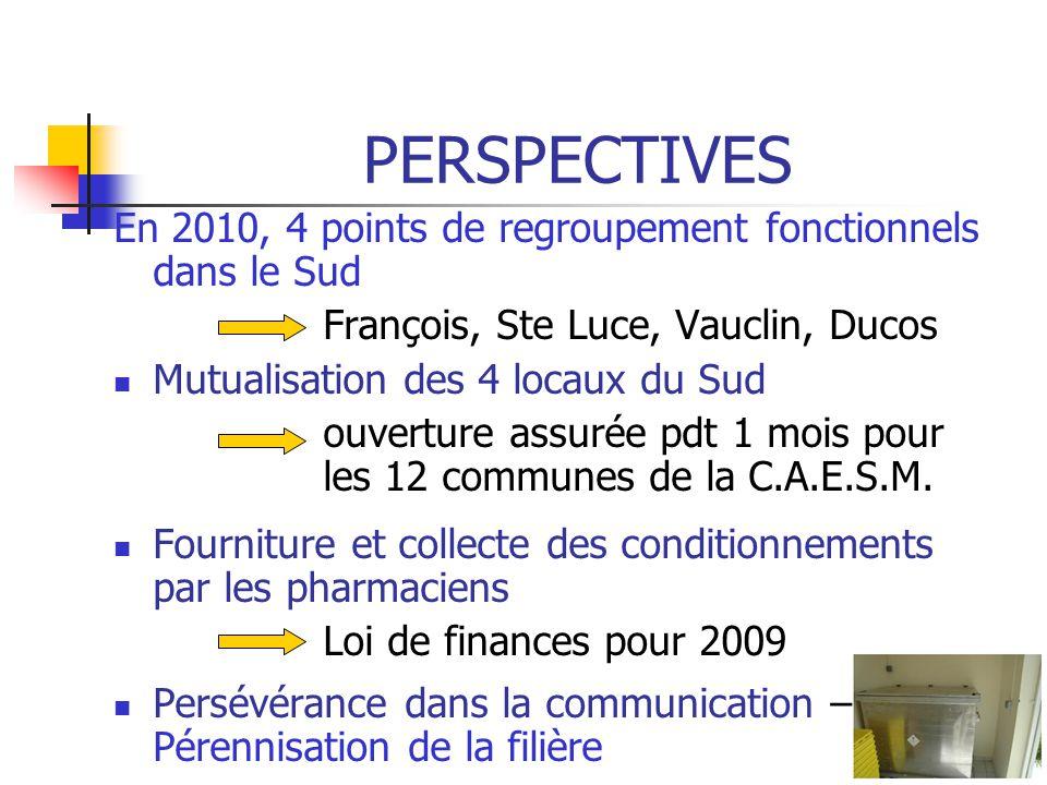 PERSPECTIVES En 2010, 4 points de regroupement fonctionnels dans le Sud François, Ste Luce, Vauclin, Ducos Mutualisation des 4 locaux du Sud ouverture assurée pdt 1 mois pour les 12 communes de la C.A.E.S.M.