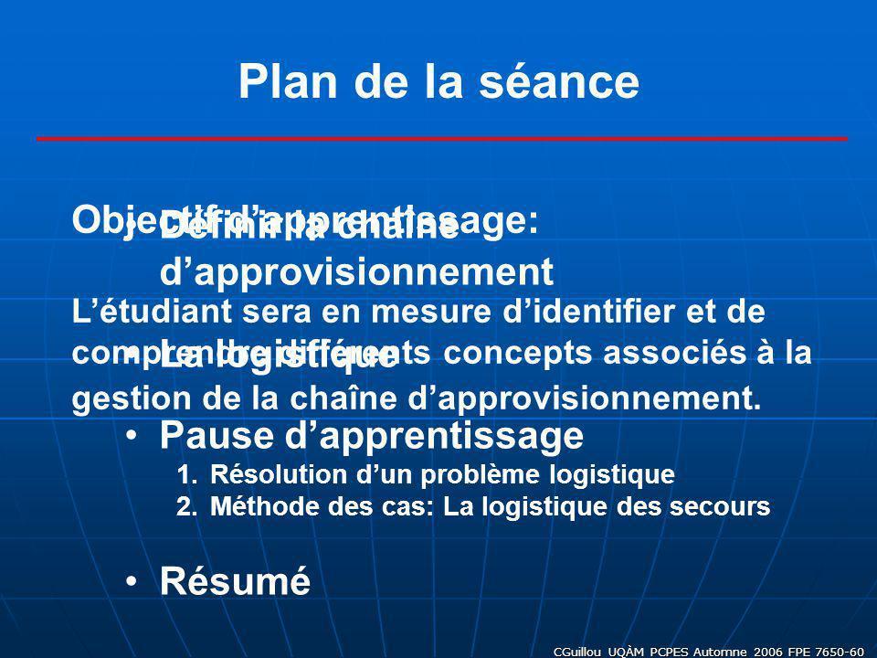 CGuillou UQÀM PCPES Automne 2006 FPE 7650-60 Plan de la séance Définir la chaîne dapprovisionnement La logistique Pause dapprentissage 1.Résolution du