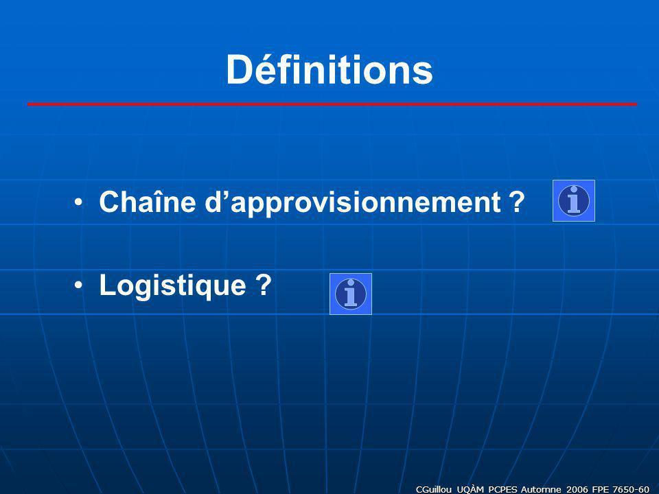 CGuillou UQÀM PCPES Automne 2006 FPE 7650-60 Chaîne dapprovisionnement ? Logistique ? Définitions