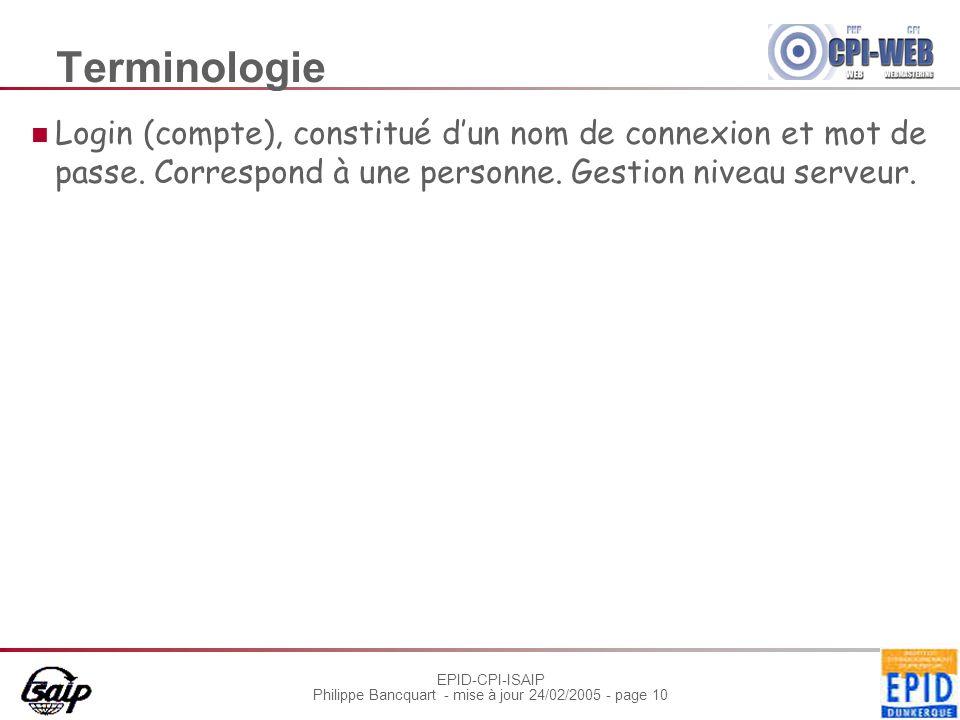 EPID-CPI-ISAIP Philippe Bancquart - mise à jour 24/02/2005 - page 10 Terminologie Login (compte), constitué dun nom de connexion et mot de passe.