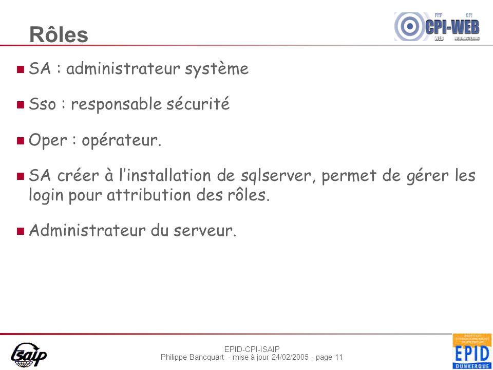 EPID-CPI-ISAIP Philippe Bancquart - mise à jour 24/02/2005 - page 11 Rôles SA : administrateur système Sso : responsable sécurité Oper : opérateur.