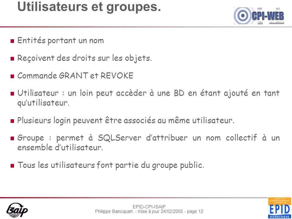 EPID-CPI-ISAIP Philippe Bancquart - mise à jour 24/02/2005 - page 12 Utilisateurs et groupes.