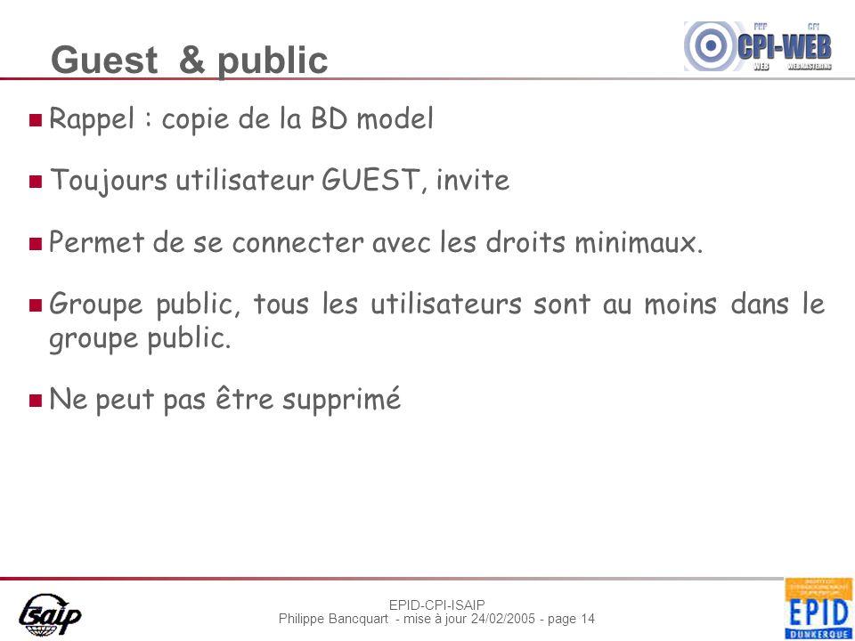 EPID-CPI-ISAIP Philippe Bancquart - mise à jour 24/02/2005 - page 14 Guest & public Rappel : copie de la BD model Toujours utilisateur GUEST, invite Permet de se connecter avec les droits minimaux.
