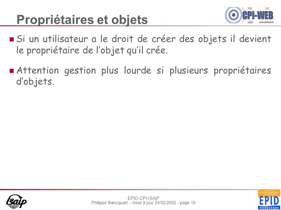 EPID-CPI-ISAIP Philippe Bancquart - mise à jour 24/02/2005 - page 15 Propriétaires et objets Si un utilisateur a le droit de créer des objets il devient le propriétaire de lobjet quil crée.