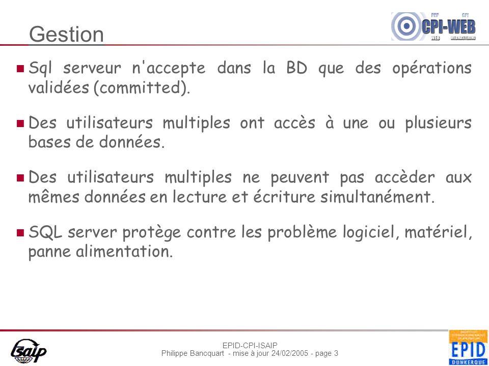 EPID-CPI-ISAIP Philippe Bancquart - mise à jour 24/02/2005 - page 3 Gestion Sql serveur n accepte dans la BD que des opérations validées (committed).