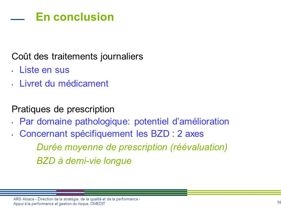 14 ARS Alsace - Direction de la stratégie, de la qualité et de la performance - Appui à la performance et gestion du risque, OMEDIT En conclusion Coût