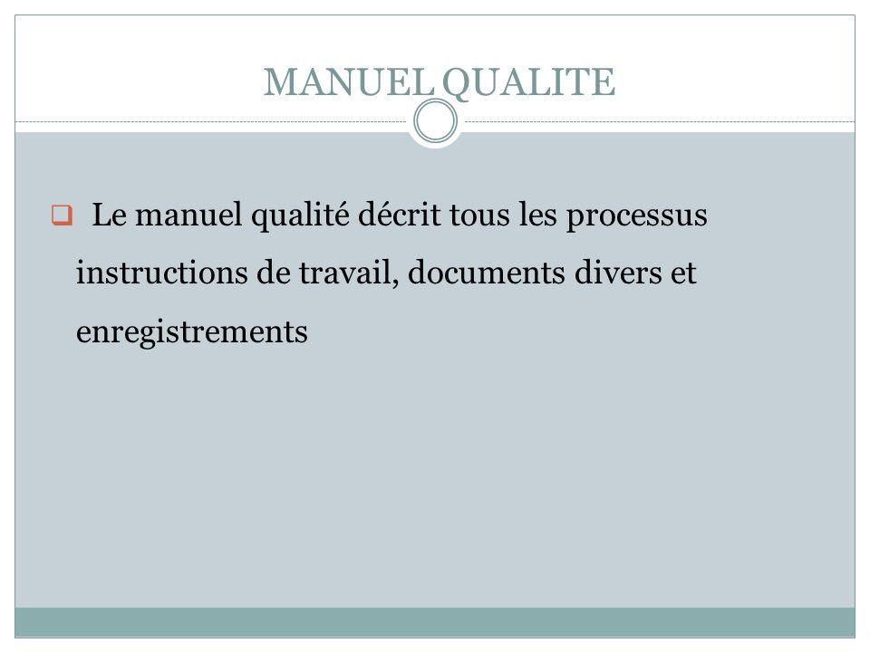 MANUEL QUALITE Le manuel qualité décrit tous les processus instructions de travail, documents divers et enregistrements