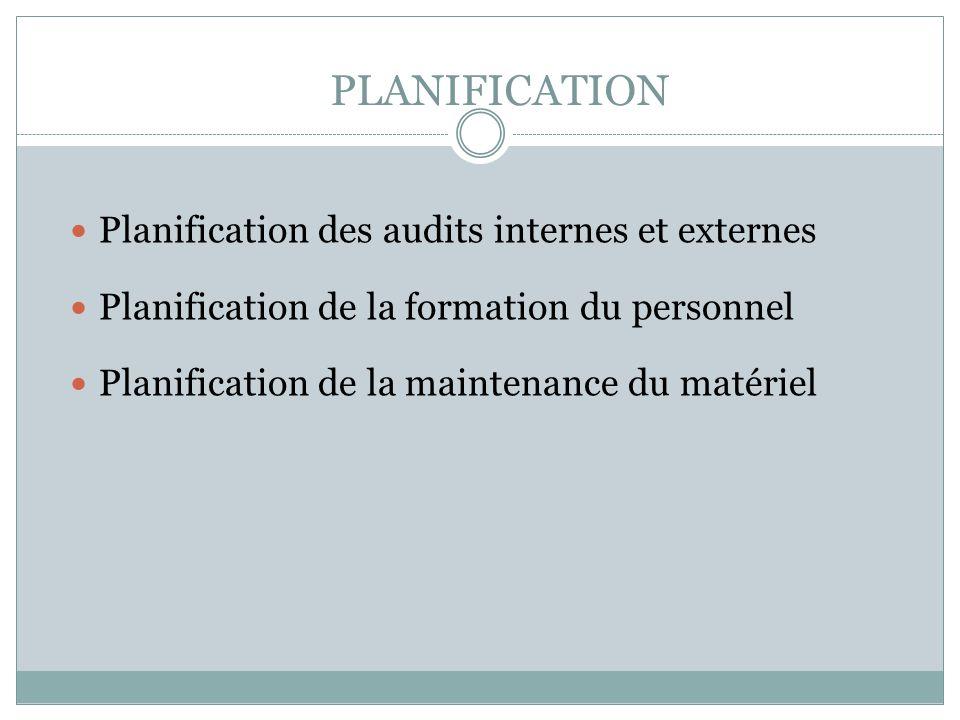 PLANIFICATION Planification des audits internes et externes Planification de la formation du personnel Planification de la maintenance du matériel