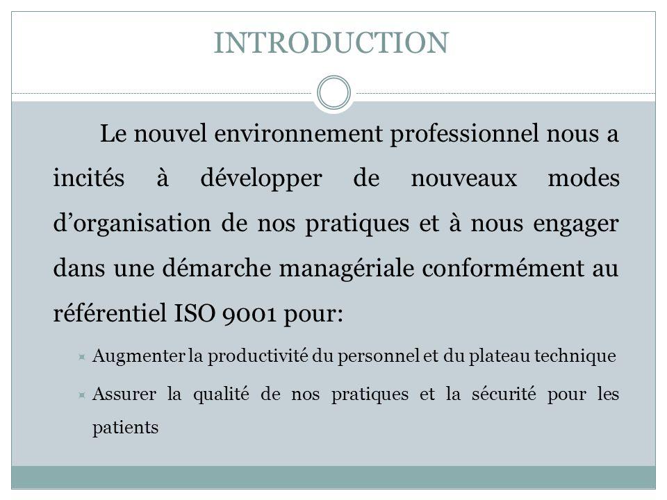 INTRODUCTION Le nouvel environnement professionnel nous a incités à développer de nouveaux modes dorganisation de nos pratiques et à nous engager dans
