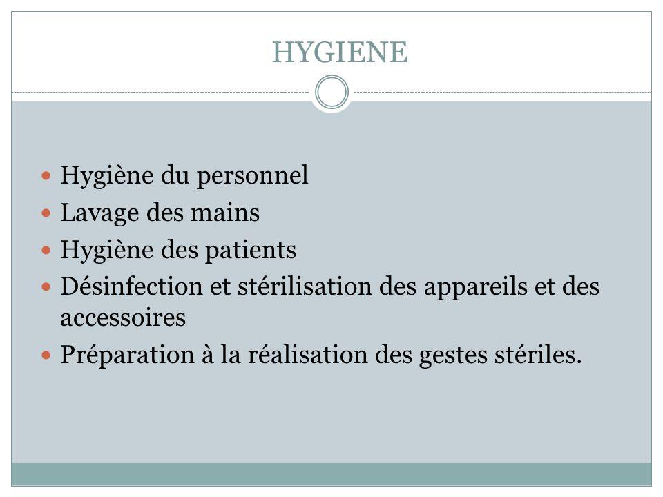 HYGIENE Hygiène du personnel Lavage des mains Hygiène des patients Désinfection et stérilisation des appareils et des accessoires Préparation à la réa
