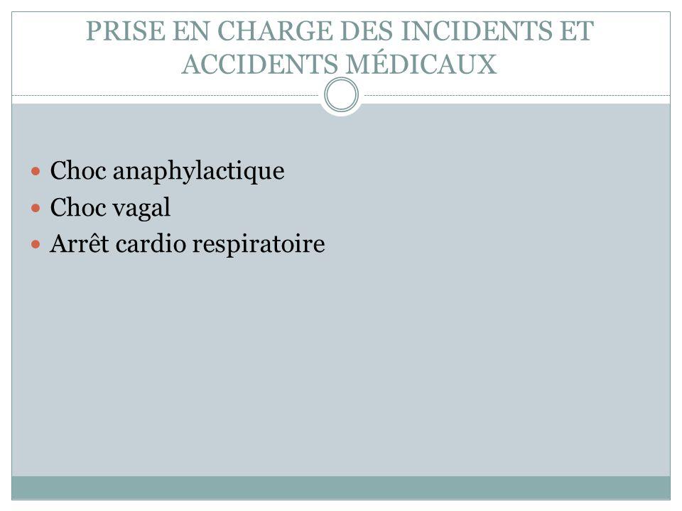 PRISE EN CHARGE DES INCIDENTS ET ACCIDENTS MÉDICAUX Choc anaphylactique Choc vagal Arrêt cardio respiratoire