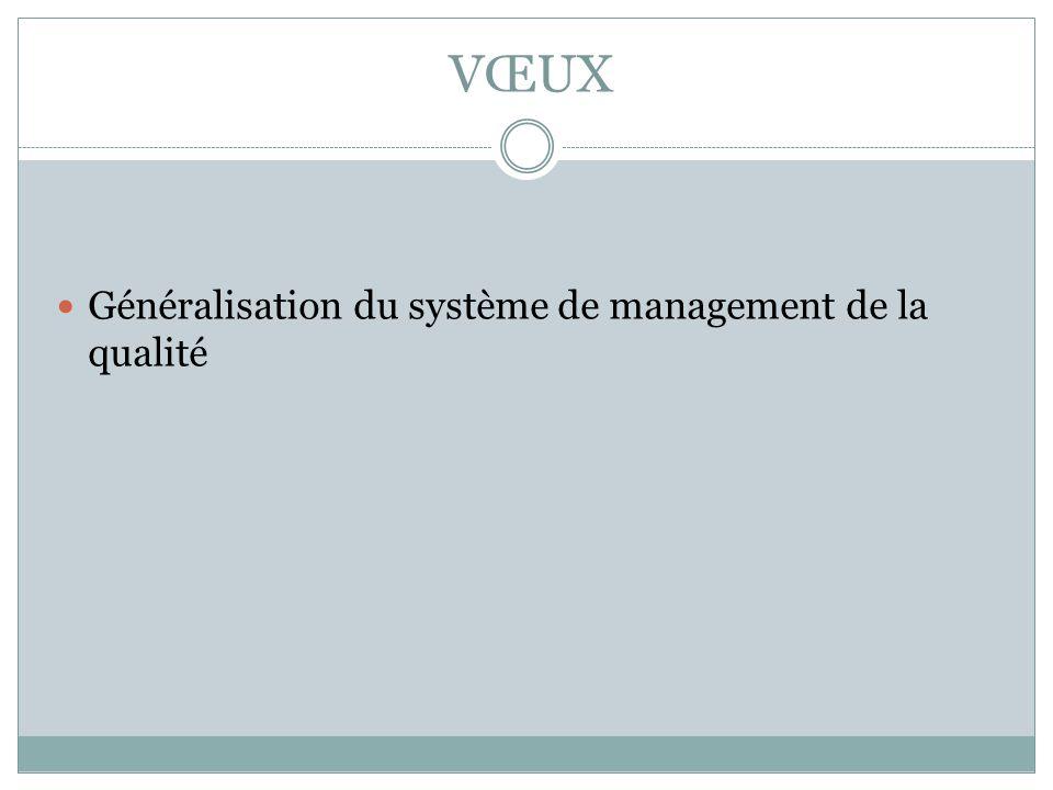 VŒUX Généralisation du système de management de la qualité