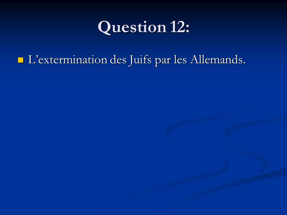 Question 12: Lextermination des Juifs par les Allemands. Lextermination des Juifs par les Allemands.