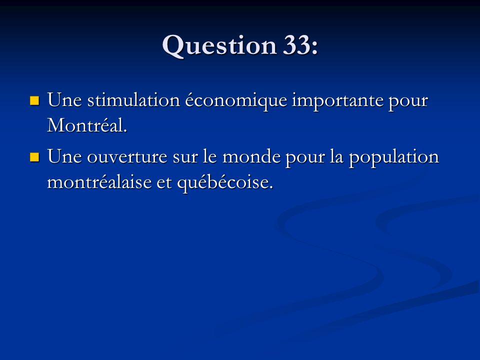 Question 33: Une stimulation économique importante pour Montréal. Une stimulation économique importante pour Montréal. Une ouverture sur le monde pour