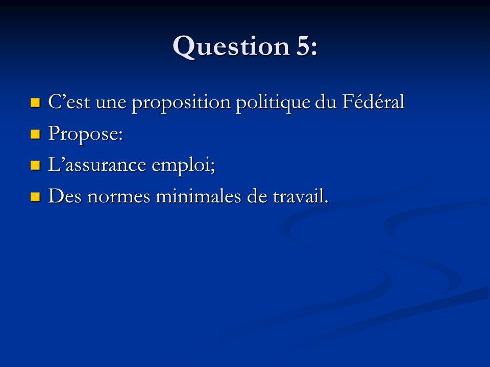 Question 5: Cest une proposition politique du Fédéral Cest une proposition politique du Fédéral Propose: Propose: Lassurance emploi; Lassurance emploi; Des normes minimales de travail.
