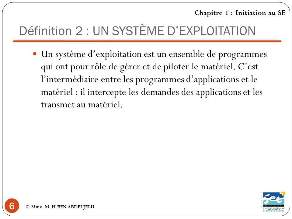 Fonctions dun SE (1) 7 © Mme M. H BEN ABDELJELIL Chapitre 1 : Initiation au SE