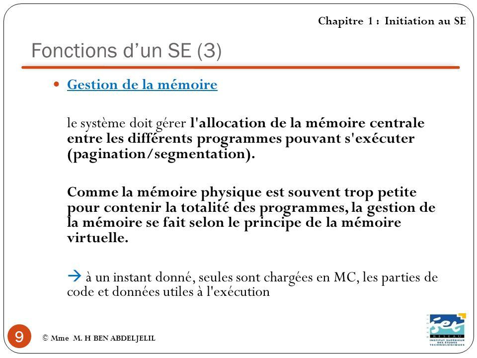 Fonctions dun SE (4) 10 © Mme M.