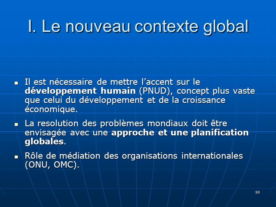 10 Il est nécessaire de mettre laccent sur le développement humain (PNUD), concept plus vaste que celui du développement et de la croissance économique.