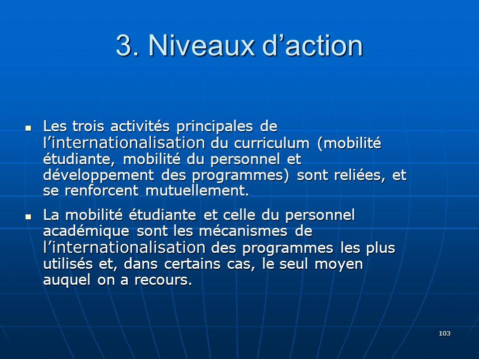 103 Les trois activités principales de l internationalisation du curriculum (mobilité étudiante, mobilité du personnel et développement des programmes) sont reliées, et se renforcent mutuellement.