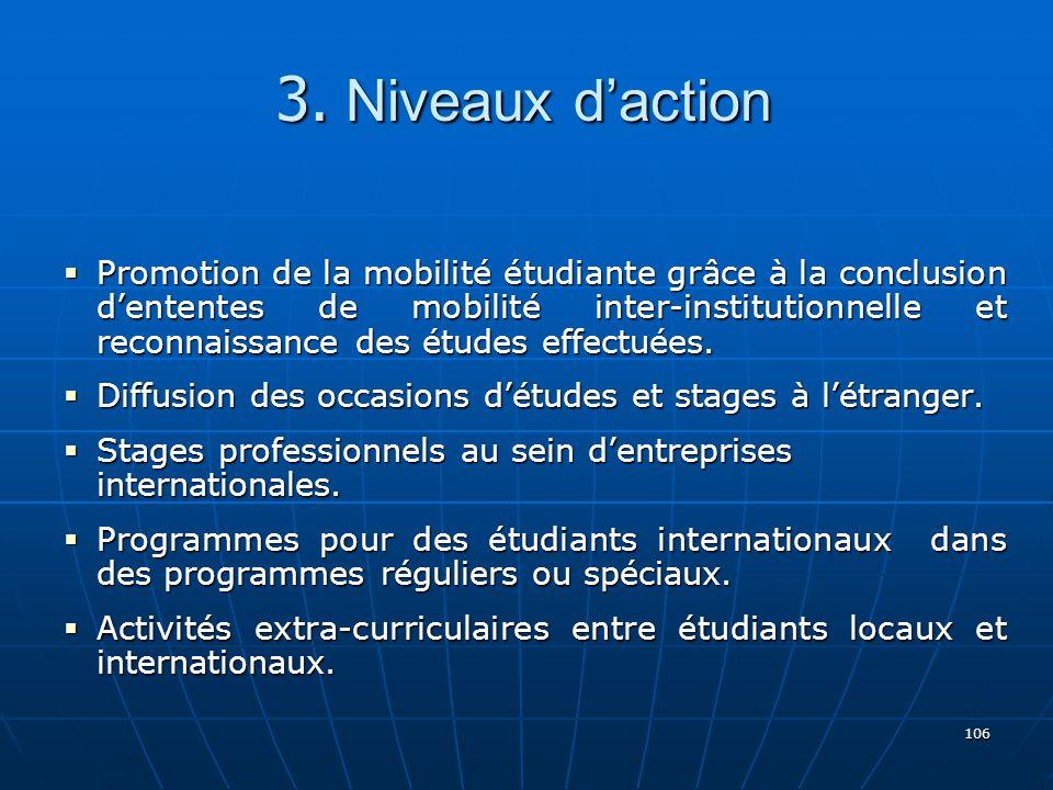 106 Promotion de la mobilité étudiante grâce à la conclusion dententes de mobilité inter-institutionnelle et reconnaissance des études effectuées.