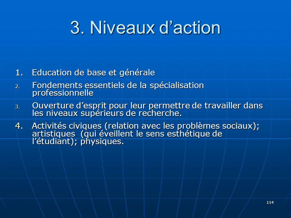 114 3.Niveaux daction 1. Education de base et générale 2.