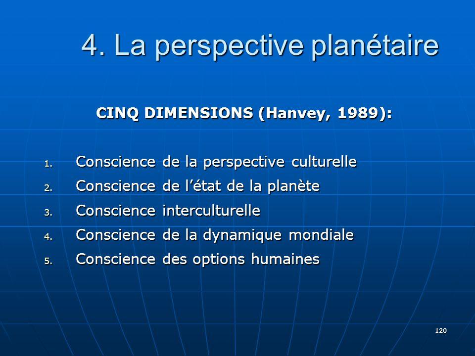 120 4.La perspective planétaire 4. La perspective planétaire CINQ DIMENSIONS (Hanvey, 1989): 1.