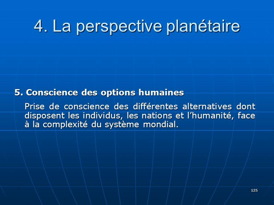 125 4.La perspective planétaire 5.