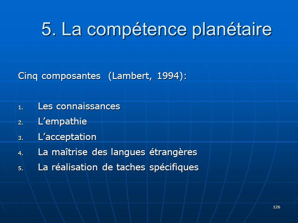 126 5.La compétence planétaire 5. La compétence planétaire Cinq composantes (Lambert, 1994): 1.